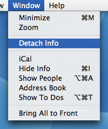 Detached info views in iCal.