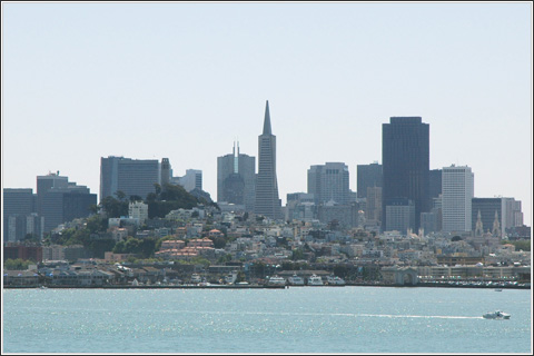 A view of the city from Alcatraz Island.